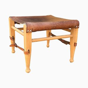 Vintage Leather Footstool for Safari Chair