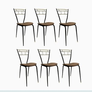 Italian Black-Lacquered Metal and Brass Dining Chairs, 1950s, Set of 6
