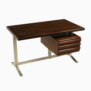 Vintage Walnut Veneer & Chromed Metal Desk with Drawers from Formanova