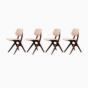 Niederländische Pelican Teak Esszimmerstühle von Louis van Teeffelen für Webe, 1960er, 4er Set