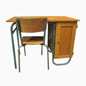 French School Desk with Chair, 1960s