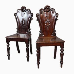 Antique Victorian Hall Chairs, Set of 2