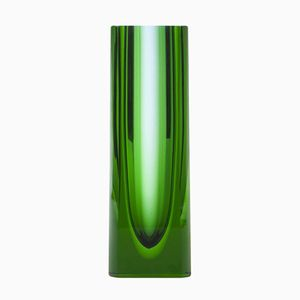 Grüne Vintage Glasvase von Moser