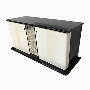 Art Deco Italian Black & Ivory Lacquered Sideboard, 1930s