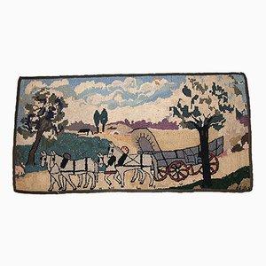 Tapis Antique Crocheté Fait à la Main Motif Cheval, Etats-Unis, 1880s