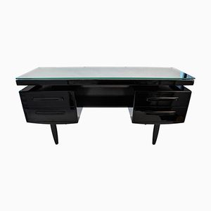 Vintage Danish Black Bureau Desk with Five Drawers, 1970s