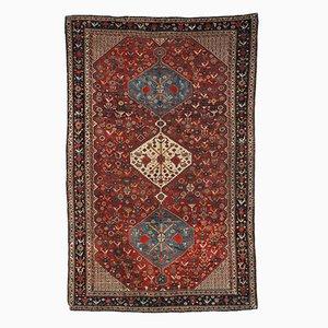 Antiker Handgeknüpfter Persischer Khamseh Teppich, 1870er