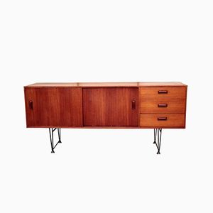 Danish Sideboard in Teak, Iron, and Plexiglas, 1960s