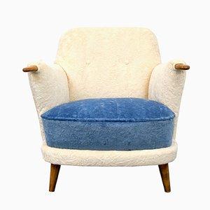 Sessel in Creme & Blau, 1950er