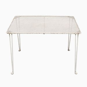 Table en Métal Perforé Blanc, 1950s