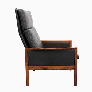Leather & Rosewood Armchair by Hans Olsen for Juul Christensen, 1960s
