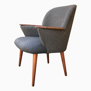 Mid-Century Grey Wool Easy Chair from Ølholm Møbler