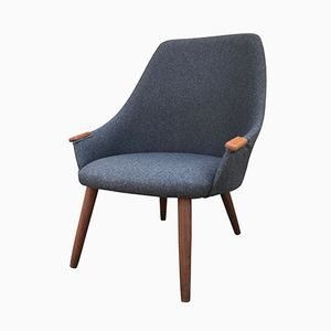 Niedriger Mid-Century Sessel mit Grauem Wollbezug