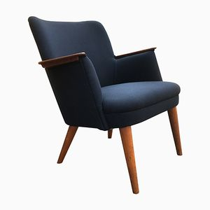 Mid-Century Blue Easy Chair with Teak Armrests