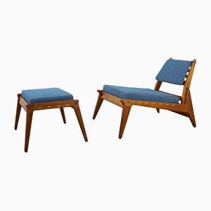 Niedriger Deutscher Sessel und Ottoman, 1950er