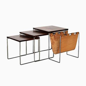Dutch Rosewood & Leather Nesting Tables from Brabantia, 1960s