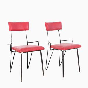 Metal & Red Upholstery Chairs, 1950s, Set of 2