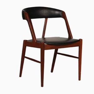 Danish Desk Chair in Teak with Black Skai Seat, 1960s