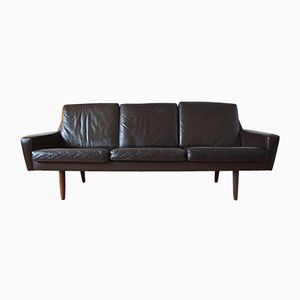 Danish Vintage Leather Sofa with Teak Legs, 1960s