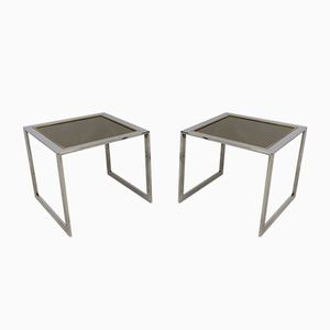 Vintage Chrome and Gilt Metal Side Tables, Set of 2