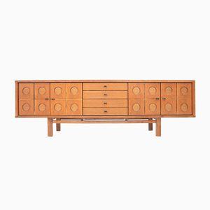 Mid-Century Brutalist Oak Symmetrical Sideboard