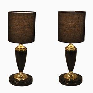 Art Deco Tischlampen in Schwarz mit Vergoldeten Elementen von Le Tanneur, 2er Set