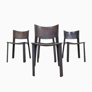 Mid-Century Buck Leather Chairs by Giancarlo Vegni for Fasem, Set of 4