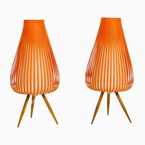 German Night Table Lamps, 1950s, Set of 2