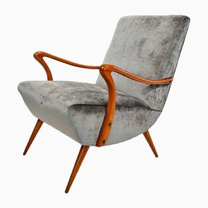 Italian Beech and Dark Silver-Grey Velvet Armchair, 1950s