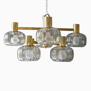 Large Eight-Armed Brass Chandelier with Glass Shades, 1970s