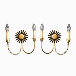Große Mid-Century Sputnik Messing Sonnenblumen Wandlampen von Vereinigte Werkstätten, 2er Set