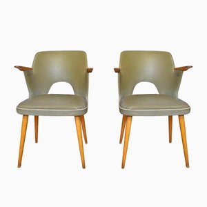 Mid-Century Riveted Vinyl Cocktail Chairs, Set of 2