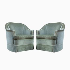 Green Velour Club Chairs, 1950s, Set of 2
