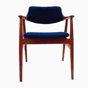 Mid-Century Danish Teak & Navy Wool Desk Chair by Erik Kirkegaard for Glostrup