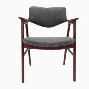 Chaise de Bureau Mid-Century en Teck et Laine Bleue Foncé par Erik Kirkegaard pour Glostrup