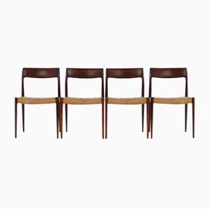 Model 77 Rosewood Dining Chairs by Niels Moller for J.L. Møllers, 1960s, Set of 4
