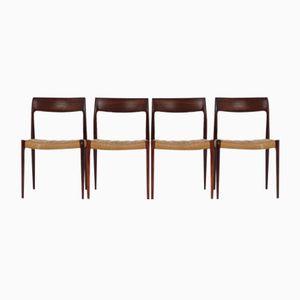Modell 77 Palisander Esszimmerstühle von Niels Moller für J.L. Møllers, 1960er, 4er Set