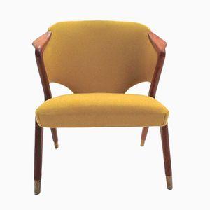 Scandinavian Yellow Wool & Teak Armchair, 1960s