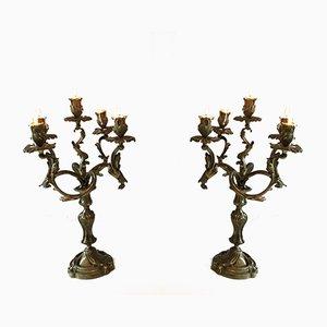 Bougeoirs à Cinq Bras en Bronze, 1900s, Set de 2
