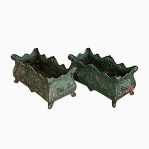 Large Antique French Louis Philippe Cast Iron Planters, Set of 2