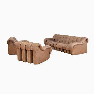 Vintage DS 600 Tatzelwurm Leather Sofa Set by Berger, Peduzzi-Riva, Ulrich & Vogt for de Sede
