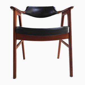 Chaise de Bureau Mid-Century en Vinyle Noir et Teck par Erik Kirkegaard pour Glostrup Mobelfabrik, Danemark