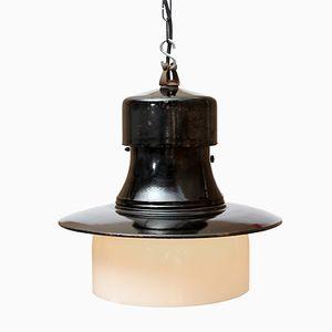 Schwarze Emaillierte Fabriklampe mit Glasschirm, 1930er