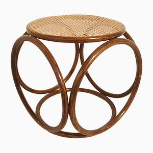 Antique Bentwood & Cane Stool from Thonet