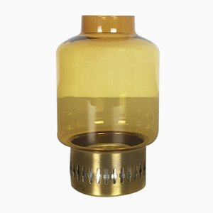 Gelber Kerzenständer aus Glas & Messing von Hans-Agne Jakobsson, 1960er