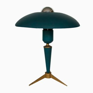 midcentury green table lamp by louis kalff for philips