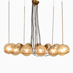 Mid-Century Large Chandelier with 16 Glass Spheres