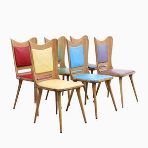 Mehrfarbige Mid-Century Esszimmerstühle von Carlo Ratti, 1950er, 6er Set