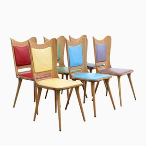Mid-Century Multi-Colored Dining Chairs by Carlo Ratti, 1950s, Set of 6