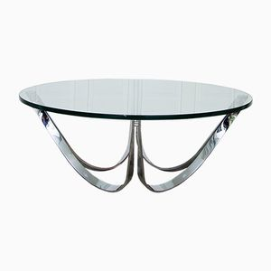 Mid-Century Round Glass and Steel Coffee Table by Roger Sprunger for Dunbar, 1970s